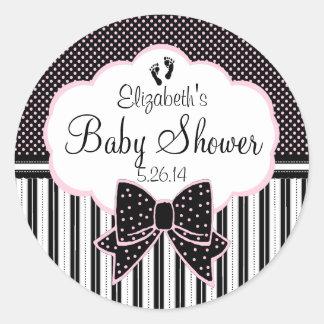 Negro y ducha del Rosado-Bebé Pegatina Redonda