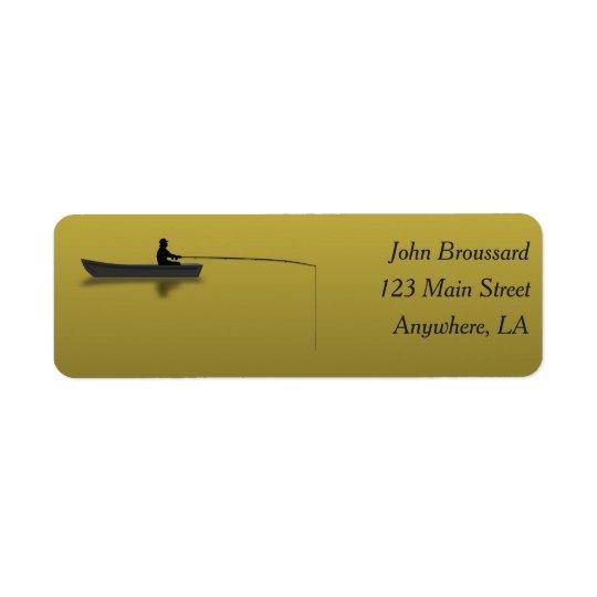 Negro y etiqueta de dirección de la pesca del oro