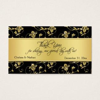Negro y etiqueta floral del favor del boda del oro