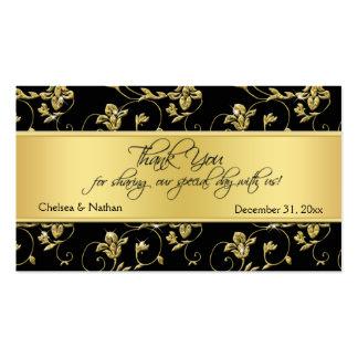 Negro y etiqueta floral del favor del boda del oro tarjetas de visita