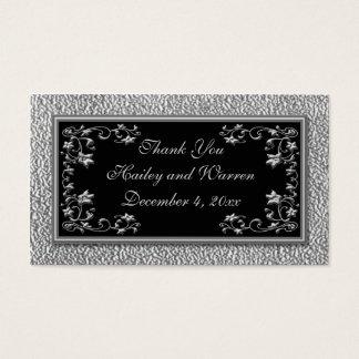 Negro y etiquetas del favor del boda del estaño