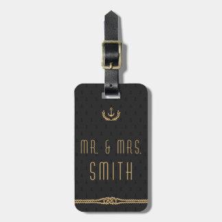 Negro y etiquetas náuticas del equipaje del boda
