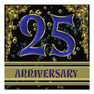 Negro y fiesta de aniversario del oro 25ta anuncio personalizado