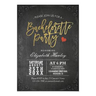 Negro y fiesta de Bachelorette de la pizarra de la Invitación 12,7 X 17,8 Cm