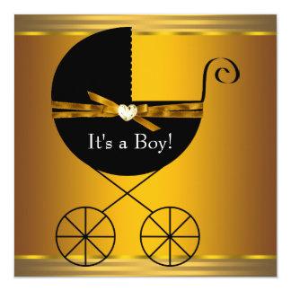 Negro y fiesta de bienvenida al bebé de los invitación 13,3 cm x 13,3cm