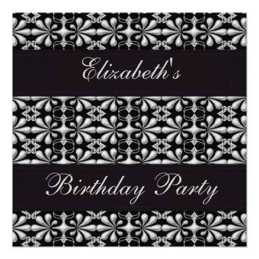 Negro y fiesta de cumpleaños gótica de la eleganci anuncios personalizados