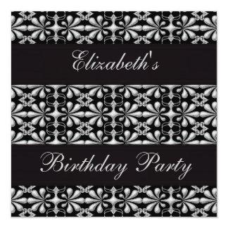 Negro y fiesta de cumpleaños gótica de la invitación 13,3 cm x 13,3cm