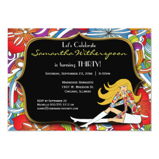 Negro y fiesta de cumpleaños retra del oro invitación 12,7 x 17,8 cm
