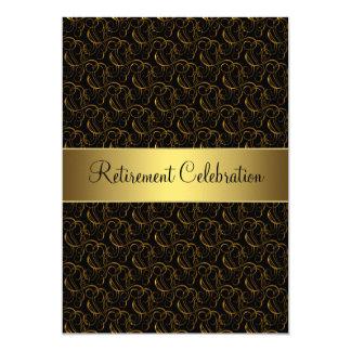 Negro y fiesta de retiro del oro invitación 12,7 x 17,8 cm