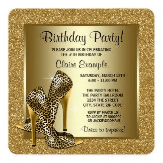 Negro y fiesta del cumpleaños de la mujer de los invitación 13,3 cm x 13,3cm