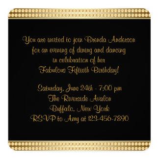 Negro y fiesta del cumpleaños de la mujer del oro invitación 13,3 cm x 13,3cm