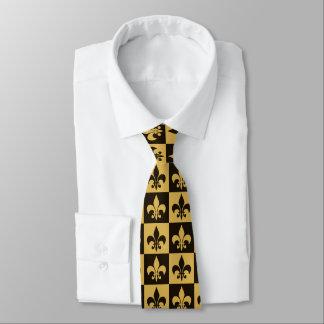 Negro y flor de lis del oro corbata