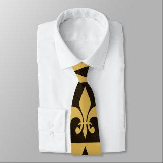 Negro y flor de lis del oro corbatas personalizadas