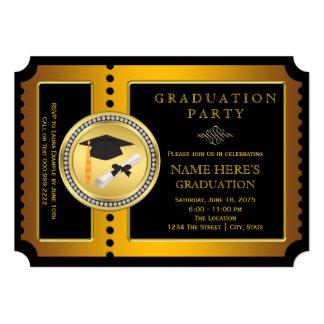 Negro y graduación de la universidad del oro invitación personalizada