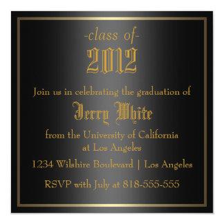 Negro y graduación del oro invitación 13,3 cm x 13,3cm