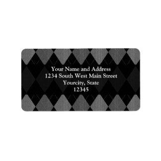 Negro y gris de carbón de leña Argyle Etiquetas De Dirección