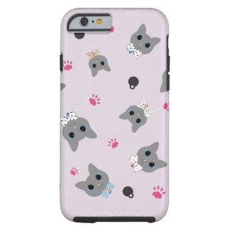 Negro y gris del rosa del modelo de los gatos funda para iPhone 6 tough