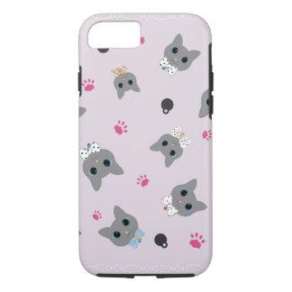Negro y gris del rosa del modelo de los gatos funda iPhone 7