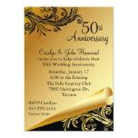 Negro y invitación del aniversario de boda del oro invitación 12,7 x 17,8 cm