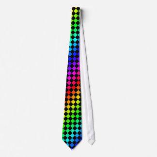 Negro y lazo de los diamantes del arco iris corbata personalizada