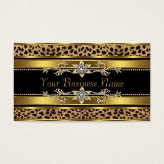 Negro y leopardo del oro tarjeta de visita