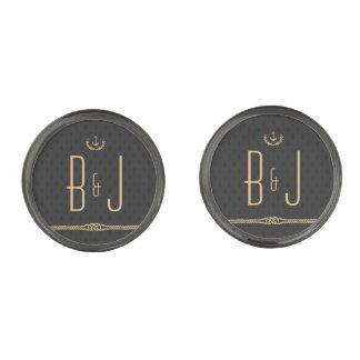 Negro y mancuernas plateadas bronce de cañón gemelos metalizados