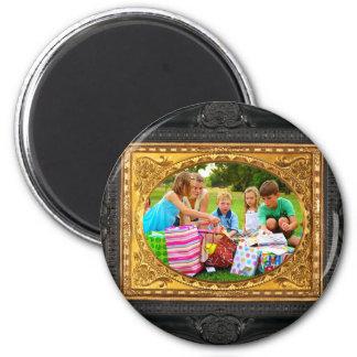 ¡Negro y marco del oro - añada su foto! Imanes