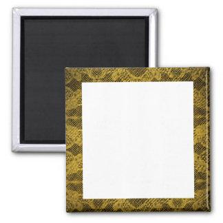 Negro y marco del oro imán cuadrado