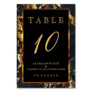 Negro y mármol del oro - número de la tabla