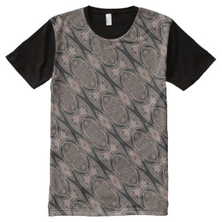 Negro y modelo abstracto de Brown Camiseta Con Estampado Integral