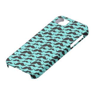 Negro y modelo de moda azul del bigote de la aguam iPhone 5 carcasas