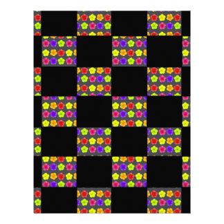 Negro y modelo del tablero de damas de las flores folleto 21,6 x 28 cm