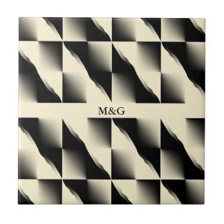 Negro y modelo diagonal de la crema (añada las azulejo cuadrado pequeño
