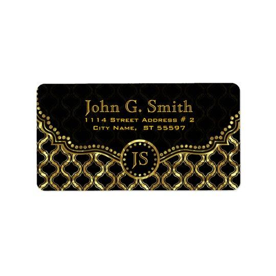 Negro y modelo metálico de Quatrefoil del oro Etiquetas De Dirección