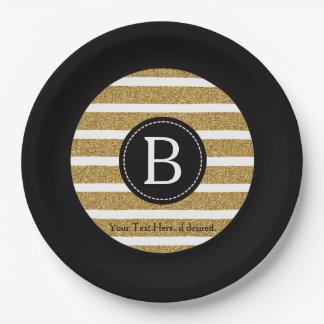 Negro y monograma del brillo del oro plato de papel