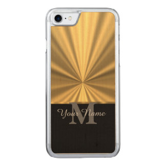 Negro y monograma metálico del oro funda para iPhone 7 de carved