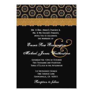 Negro y monograma retro de los círculos del oro invitación 12,7 x 17,8 cm
