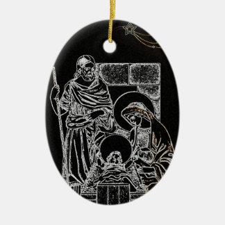 Negro y natividad del oro adorno navideño ovalado de cerámica