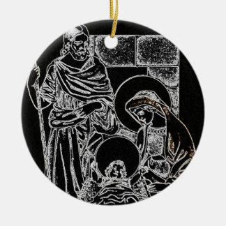 Negro y natividad del oro adorno navideño redondo de cerámica