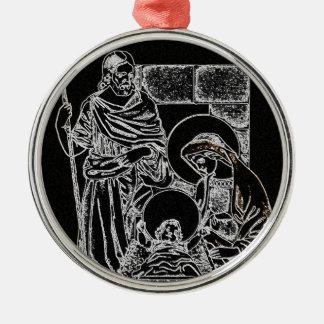 Negro y natividad del oro adorno navideño redondo de metal