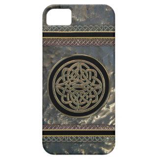 Negro y nudo céltico del metal del oro en el caso funda para iPhone SE/5/5s