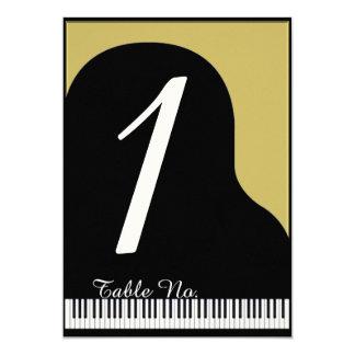 Negro y número de la tabla del boda del piano del invitación 12,7 x 17,8 cm