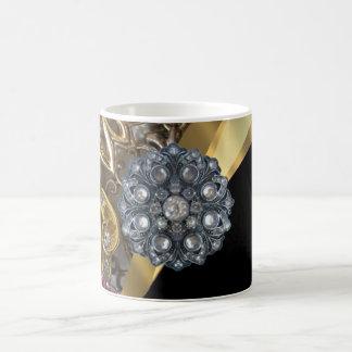 Negro y oro bling taza básica blanca
