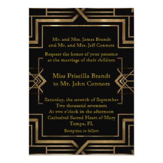 Negro y oro de la invitación del boda,