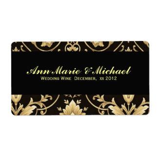 Negro y oro, etiqueta de encargo del vino del boda