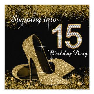 Negro y oro que caminan en 15 Quinceanera Invitación 13,3 Cm X 13,3cm