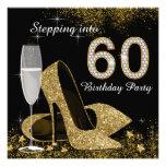 Negro y oro que caminan en fiesta de cumpleaños 60 invitaciones personalizada