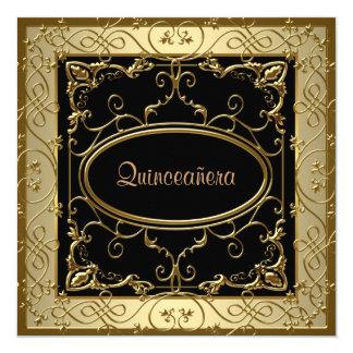 Negro y oro Quinceanera Invitación 13,3 Cm X 13,3cm