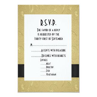 Negro y oro R.S.V.P que se casa formal Invitación