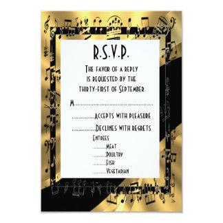 Negro y oro R.S.V.P que se casa formal Invitación 8,9 X 12,7 Cm